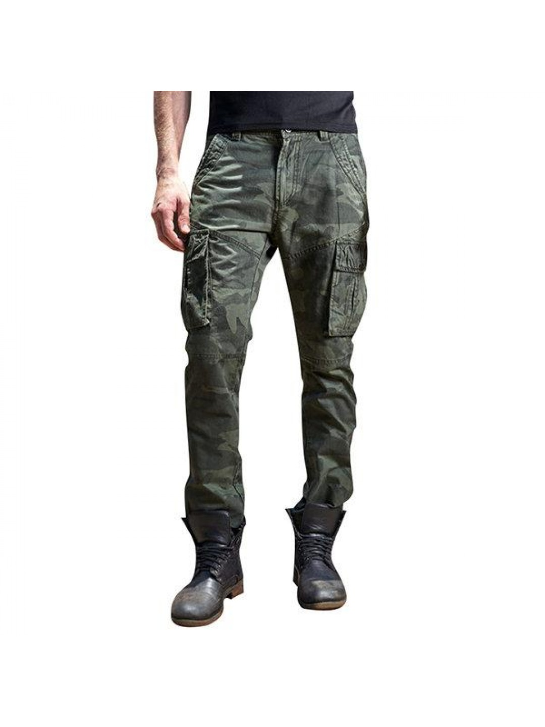 Mens Outdoor Camouflage Multi Pockets Casual Cotton Cargo Pants Military Tactical Pants