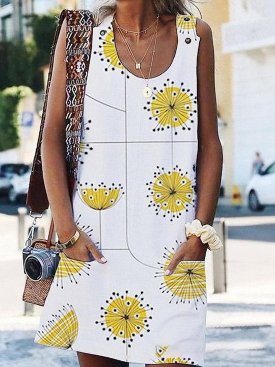 Stripe Floral Print Sleeveless Casual Dress For Women