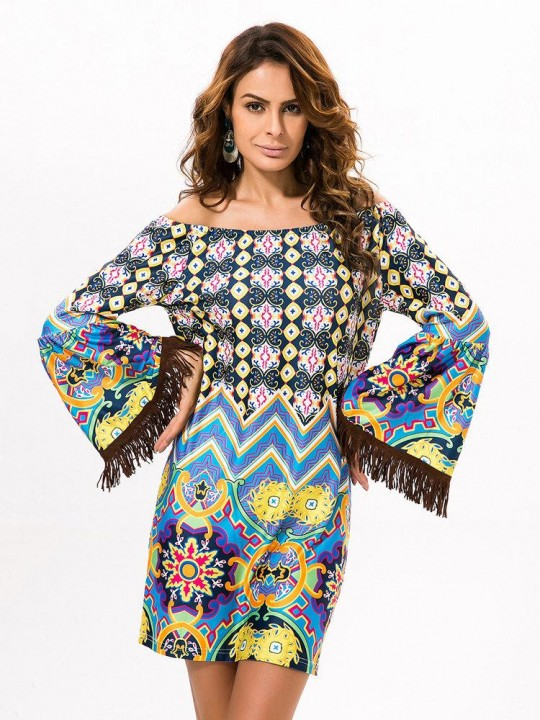 Print Sexy Off Shoulder Tassels Long Sleeve Women Dresses