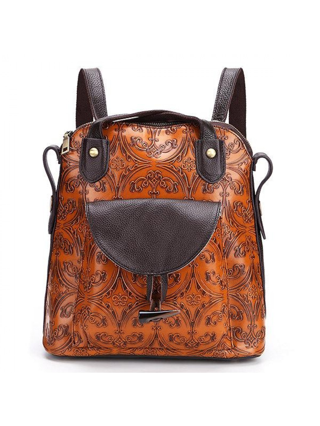 Brenice Multi-function Genuine Leather Women Backpack Vintage Emboss Women Shoulder Bag