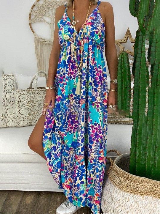 Bohemian Floral Butterfly Print Maxi Dress For Women