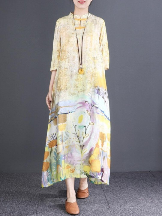 Vintage 3/4 Sleeve Print Maxi Dress For Women