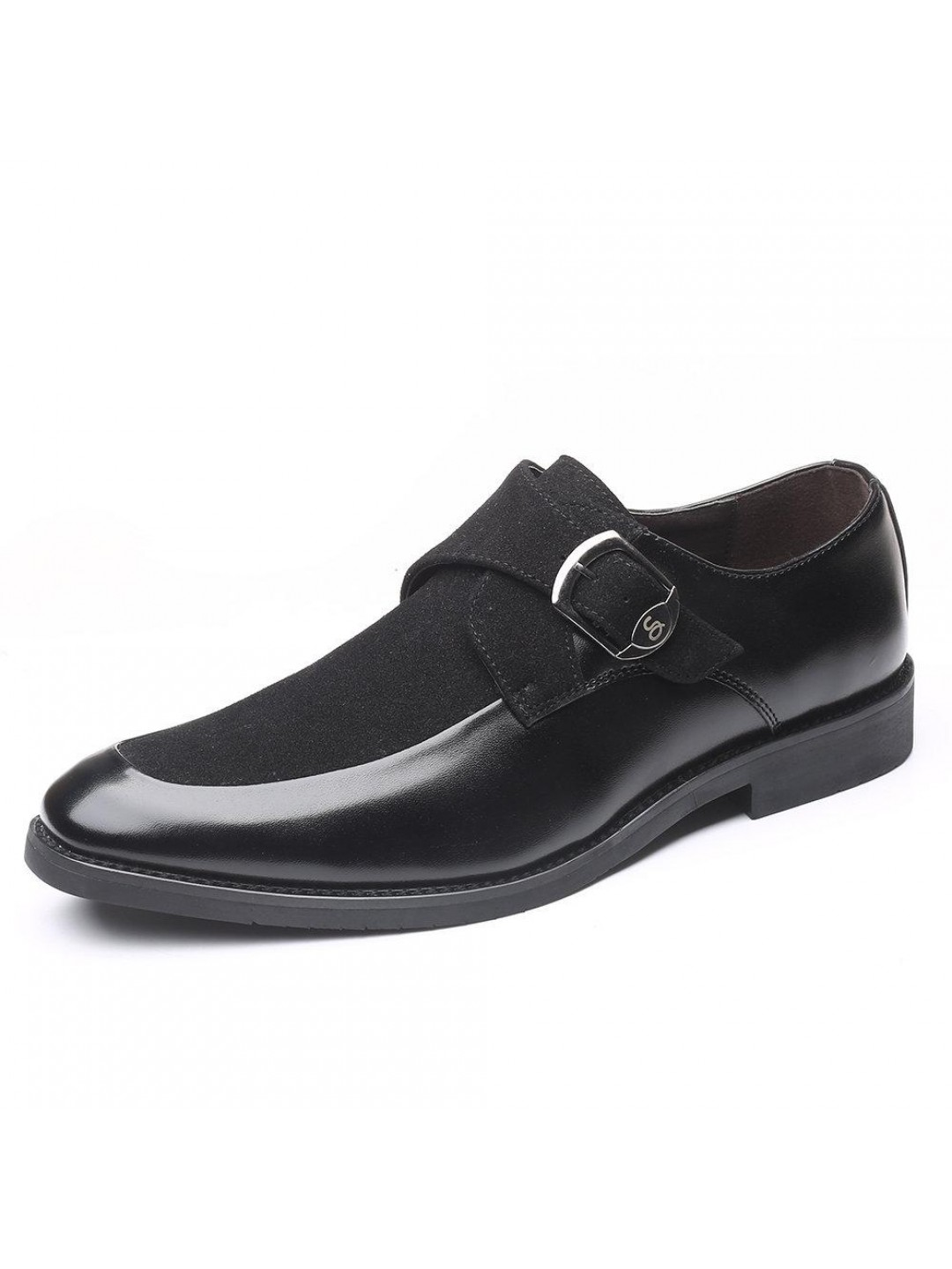 Men Leather Splicing Non Slip Metal Buckle Formal Dress Shoes