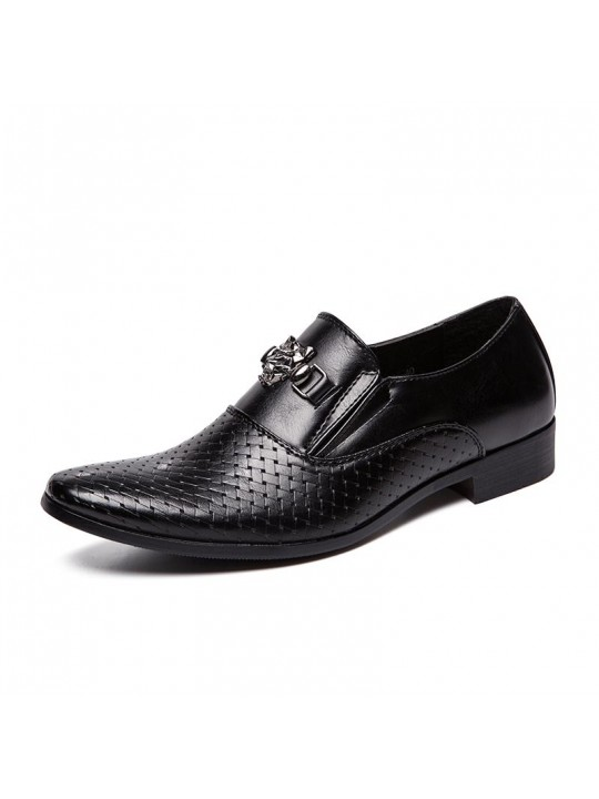 Men Sylish Metal Decoration Comfy Slip On Business Formal Dress Loafers