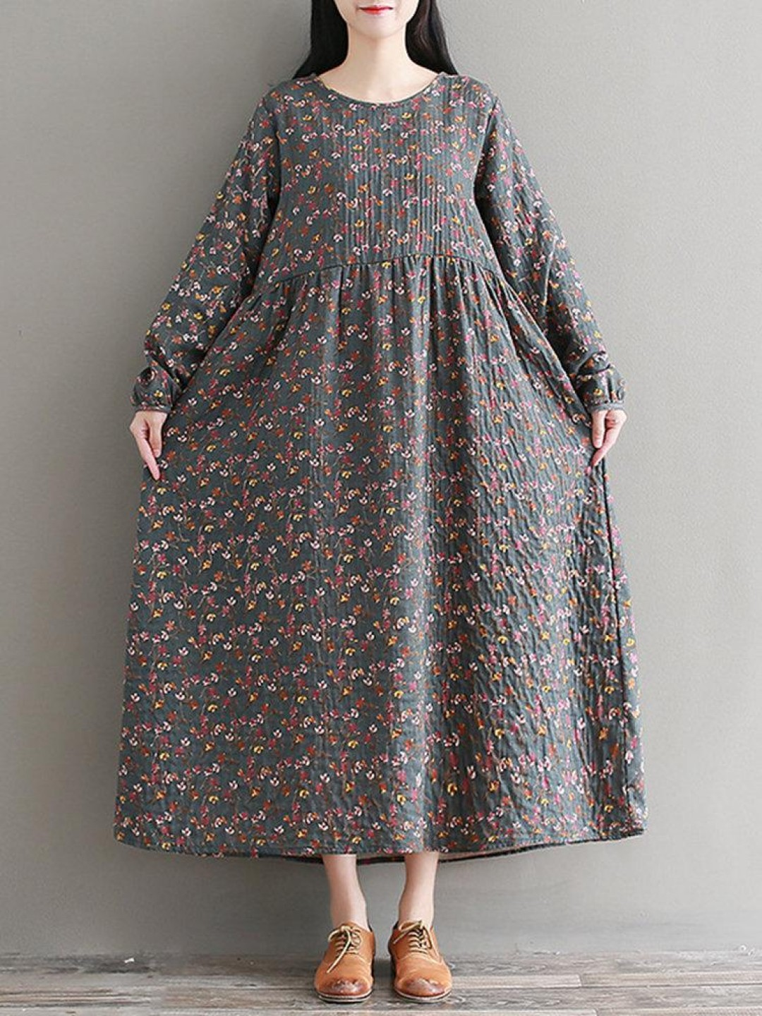 Casual Floral Printed O-Neck Long Sleeve Women Maxi Dresses